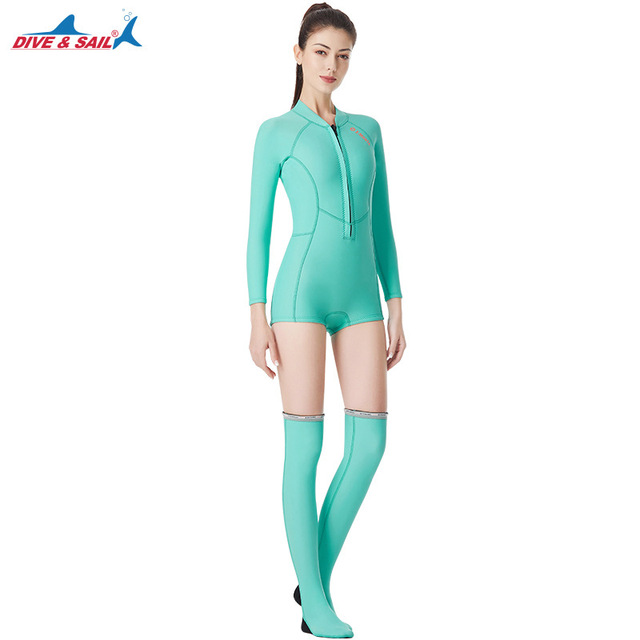 Women Neoprene wetsuit Long Sleeve one piece suit diving