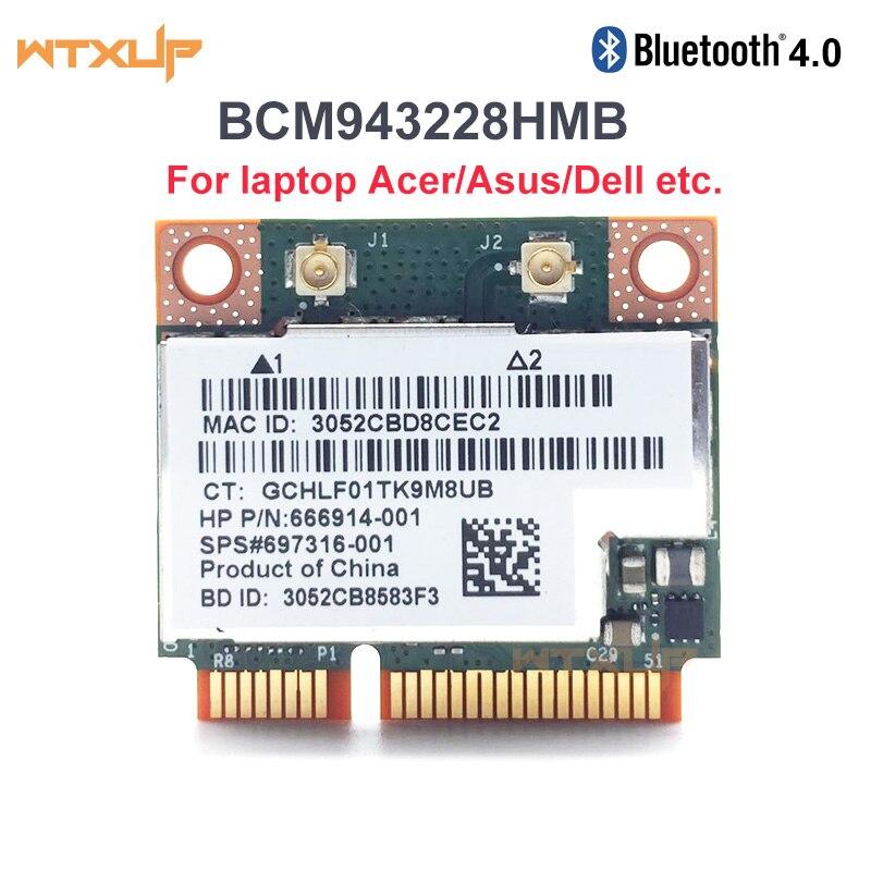 Dual Band Broadcom BCM943228HMB BCM943228 802.11a/b/g/n Mini pci-e Wifi Card 300Mbps 2.4Ghz 5Ghz wireless Bluetooth 4.0 Adapter(China)