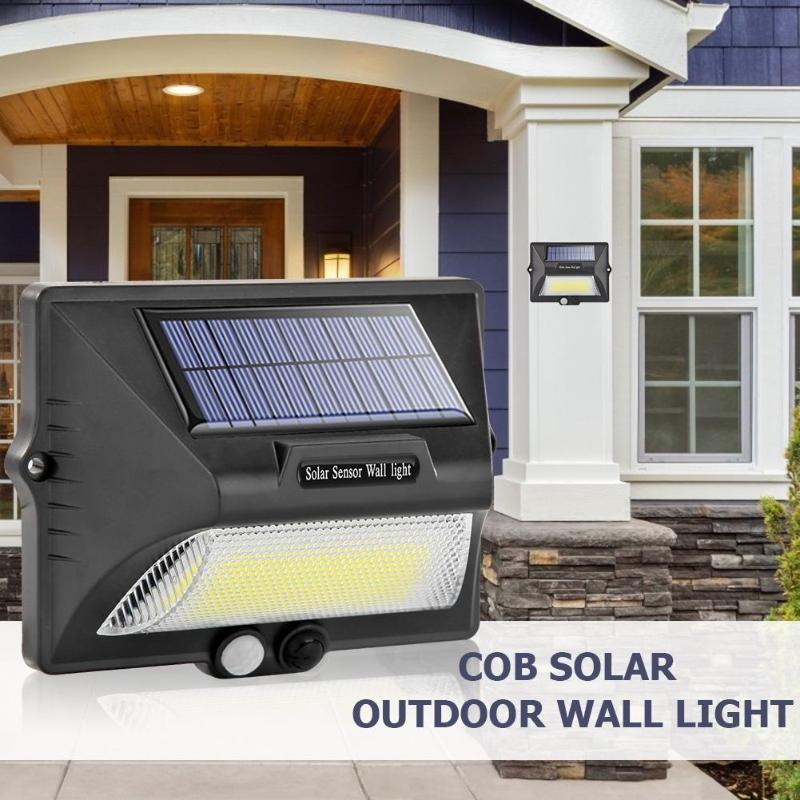Solar COB LED Wall Lamp Flood Light IP65 Waterproof Body PIR Motion Sensor Outdoor Wall Yard Garden Courtyard Night Lighting