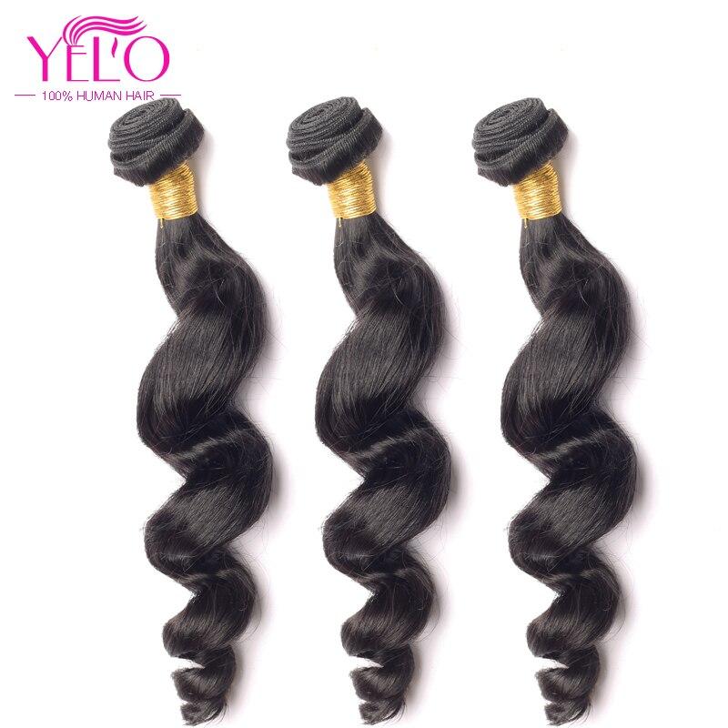 YELO Brazilian Virgin Hair Weave Bundles Loose Wave 3pcs/Lot 100% Human Hair 8-30 inch Hair Extensions Natural Color