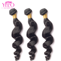 YELO Brazilian Virgin Hair Weave Bundles Loose Wave 3pcs/Lot 100% Human Hair 8 30 inch Hair Extensions Natural Color