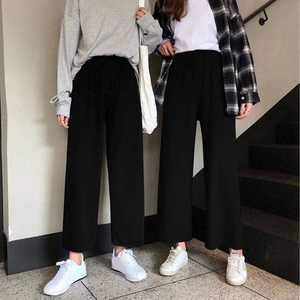 Wide Leg Pants Women Solid High Waist Trousers Pleated Loose Casual Elegant Womens Korean Style Chic School Daily Girls