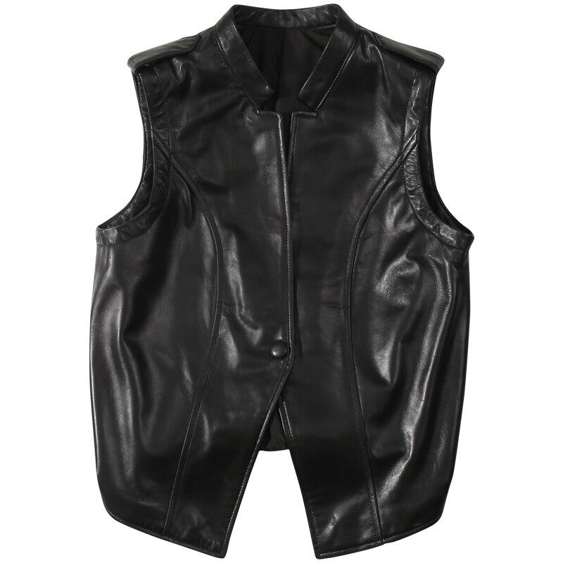 2020 Autumn Models Were ThinLeather Vest Female Leather Short Vest Shoulder Sheep Leather Vest Korean Version  Jacket Women