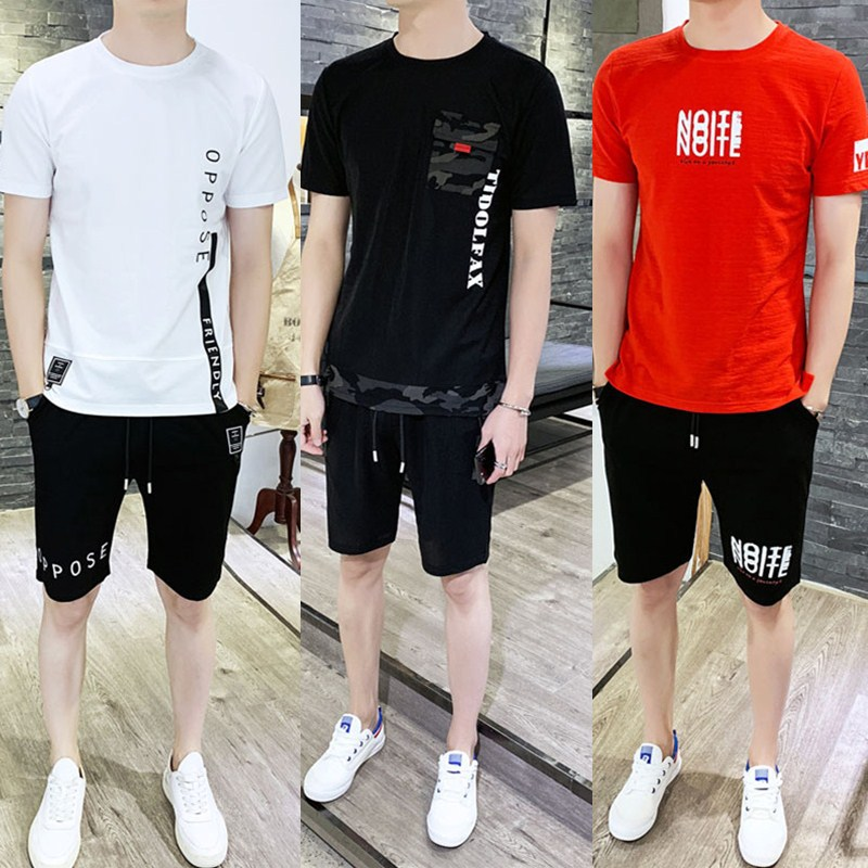 Summer Wear 2019 New Style Short Sleeve T-shirt Suit Male Two-Piece Korean-style Pants Summer Men Casual Sports Z-