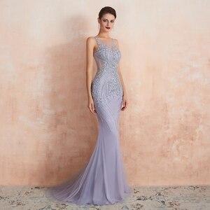 Image 4 - Lavender Evening Dresses 2020 Mermaid Sleeveless Long Formal Dress Women Elegant Beaded Crystal Sheer Neck Sweep Train Prom Gown