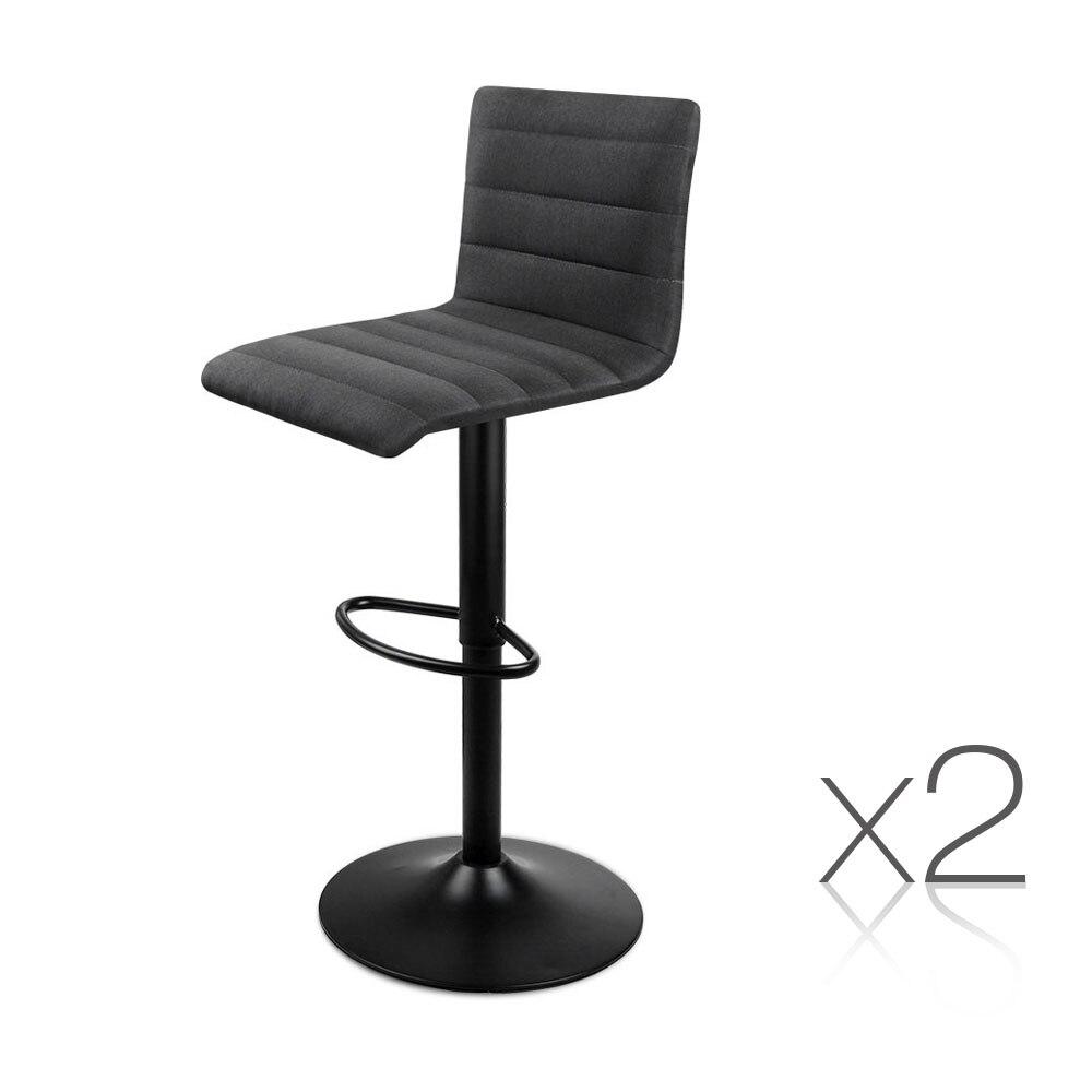 Artiss 2 piezas taburetes de barra de tela negro cómodo en forma de L asiento de espuma de alta densidad altura ajustable sillas de Bar