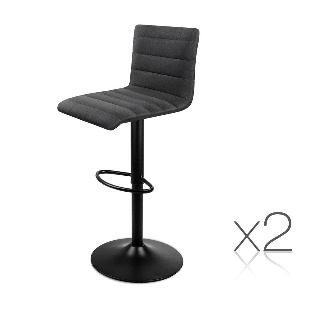 Artiss 2PCS Fabric Bar Stools Black Comfortable L Shaped Seat High Density Foam Height Adjustable Bar Chairs