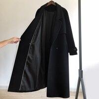 Herbst/Winter 2021 schwarz woolen mantel frauen mode mantel lose gürtel temperament ist dünne beiläufige wolle mantel graben büro Dame Lange