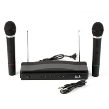 75KHz Professional WIRELESS MICROPHONE SYSTEM Dual handheld microphone 2 channels karaoke stage