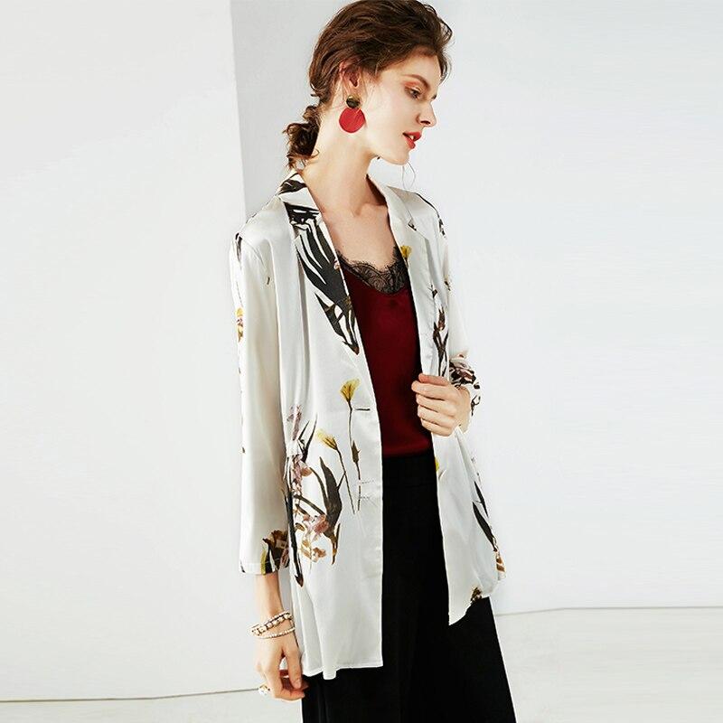 المرأة طباعة طويل الحلل 100% الحرير 3/4 أكمام مكتب سيدة السترة 2019 جديد الخريف الشتاء خارج ارتداء-في السترات من ملابس نسائية على  مجموعة 2