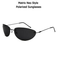 100% titânio clássico polarizado óculos de sol masculino matrix neo morpheus uv400 filme super leve marca designer sem aro