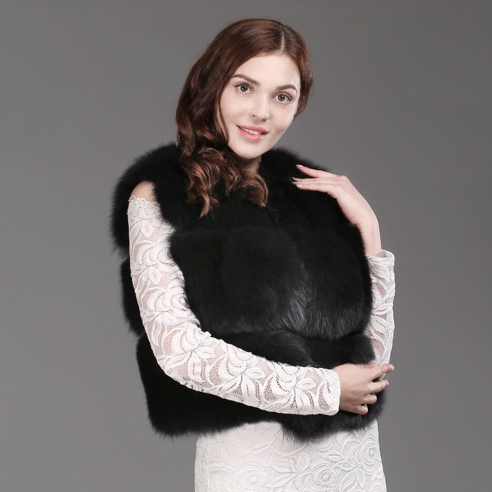 Mulheres Moda Real Fox Fur Vest 100% Natural Fox Fur Colete Macio 2019 Novo Outono Inverno Quente Senhora Curto Genuína colete de Pele De raposa - 6