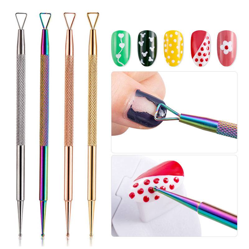1 Pc Rose Gold Colorful Dual-ended Stainless Steel UV Gel Remover Dotting Pen Professional Nail Tools Nail Art Decoration