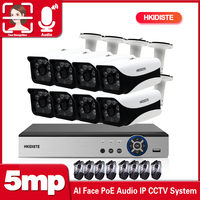 H.265 8CH 1080P 5MP POE NVR Kit CCTV Security System Audio IP Camera IR Outdoor Waterproof CCTV Video Surveillance Set 2TB HDD