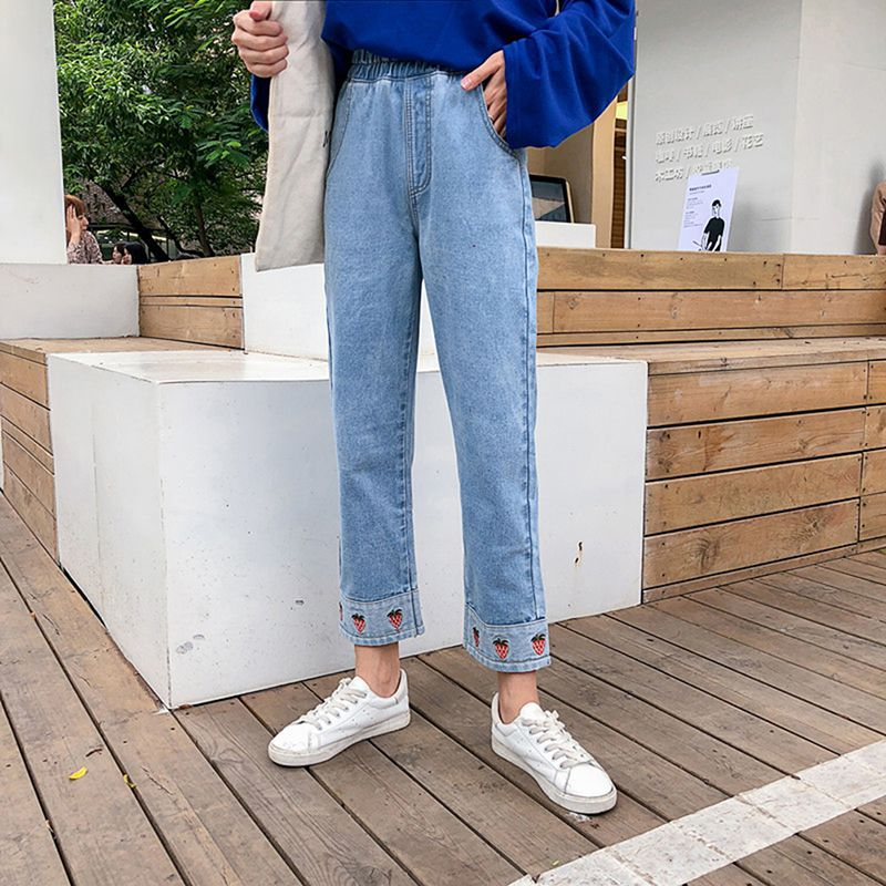 Women Casual Stretch Trousers High Waist Straight Pants Cartoon Strawberry Embroidered Loose Jeans Denim Nine Pants