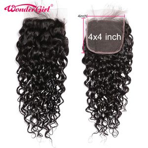 Water Wave 4x4 Lace Closure With Deep Parting Brazilian Remy Human Hair Closure With Baby Hair 4x4 Closure Wonder girl