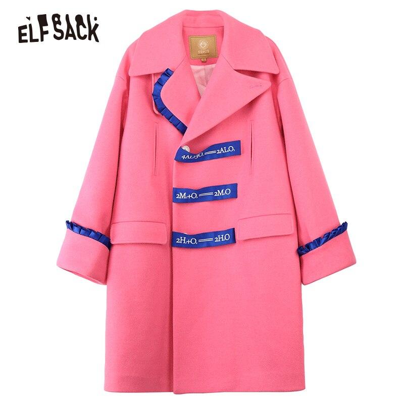ELFSACK Brief Drucken Frauen Mäntel, 2019 Winter Neue Casual Rosa Süße Rüschen Weibliche Woolen mantel Mode Japanischen Mantel - 5