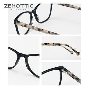 Image 4 - ZENOTTIC asetat kare kadınlar için gözlük çerçeveleri miyopi hipermetrop optik gözlük gözlük çerçeveleri reçete gözlük