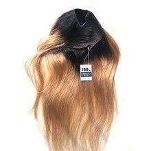 RAIPONCE – perruque u-part brésilienne lisse, brun miel T1b/27, postiche de cheveux naturels colorés ombrés pour femmes