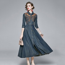 Women High Quality Floral Embroidery Dress Designer Vintage Denim Dress Slim Waist Casual Maxi Dresses Vestido De Mujer 2020