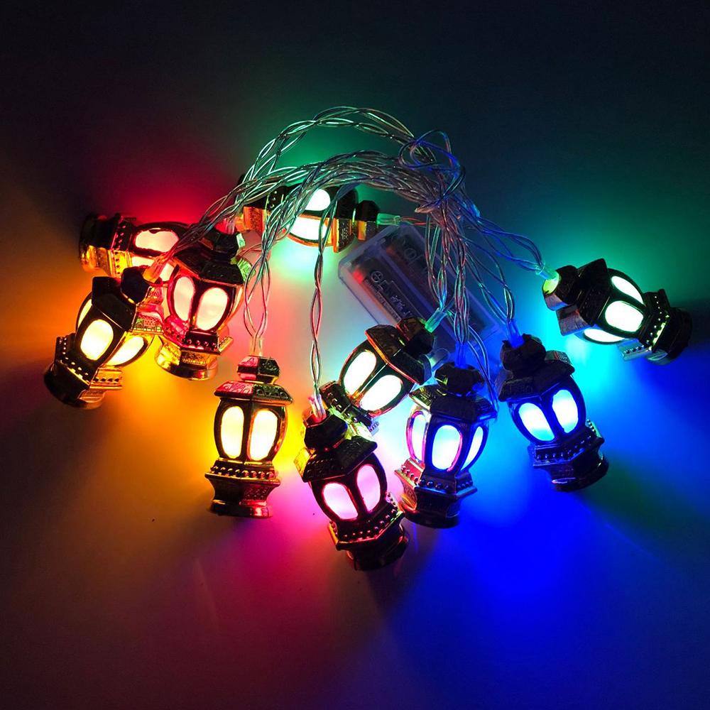10/20 LED Moon Castle String Lights Eid Ramadan Muslim Islam Decoration Lantern Light For Christmas Wedding Party Festival Lamp