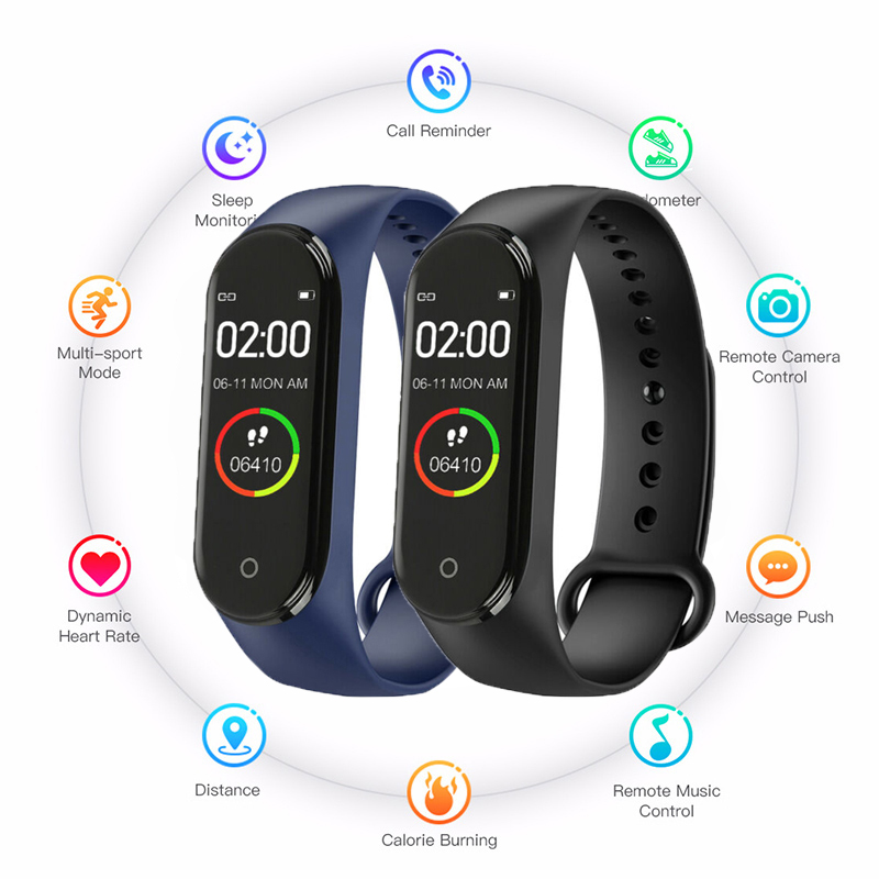 Men Watch Fashion M4 Sport Watch Heart Rate Blood Pressure Monitoring Male Female Pedometer Bluetooth Anti-lost Cable Cell Phone