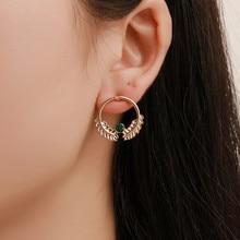 Women Fashion Temperament Leaves Earrings Korean Version Of Simple Versatile Hollow Geometric Leaf