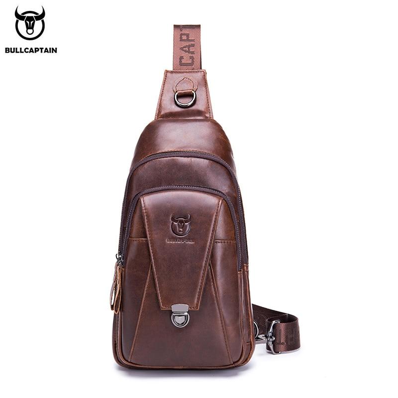 BULLCAPTAIN High Quality Men Genuine Leather Cowhide Vintage Chest Back Pack Travel Fashion Cross Body Messenger Shoulder Bag