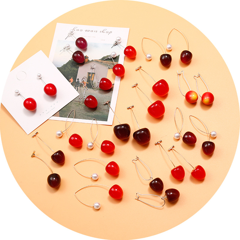 Cute Fruit Cherry Earrings Acrylic Long Red Earrings For Women Removable Elegant Jewelry Wedding Cherry Accessories Jewellery 7