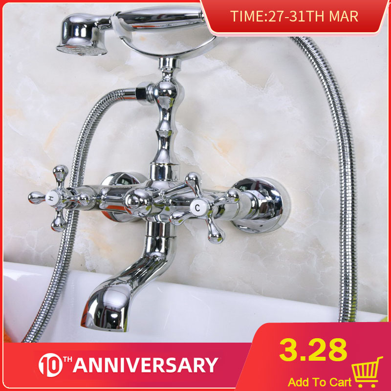 Polished Chrome Wall Mounted Brass Bathtub Faucets Bathroom Basin Mixer Tap With Hand Shower Head Bna186
