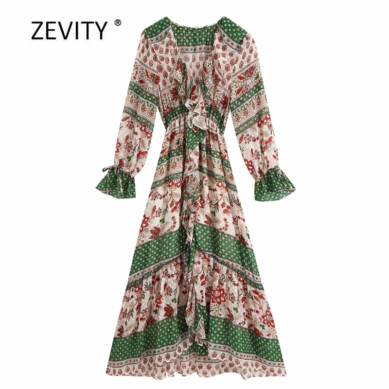 New women vintage contrast color flower print vestido cascading ruffle midi dress female chic retro hem irregular dresses DS4018