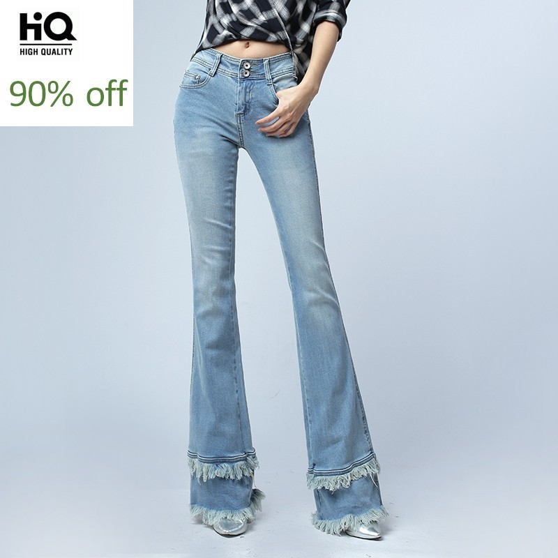 Female Korean Style Fashion Tassels Flare Pants For Women Vintage Mid Waist Woman Slim Fit Blue Denim Bell Bottom Jeans Trousers