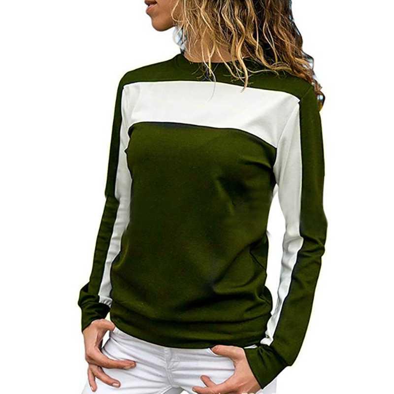 T koszula kobiety odzież 2020 modna koszulka z długim rękawem topy odzież damska wiosna jesień poliester Casual sportowa koszulka topy