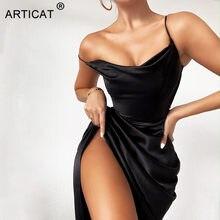 Article Satin fendu robe froncée femmes noir Spaghetti sangle robe de soirée femmes printemps Streetwear mince épaules nues Vestidos
