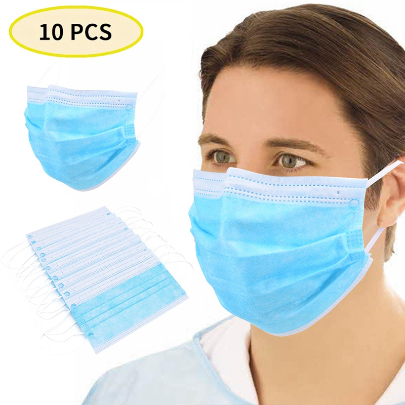 10pcs Anti Dust Face Mask Disposable Mouth Face Mask Women Men Earloop Mouth Cover Non-Woven 3 Layer Mouth Face Masks