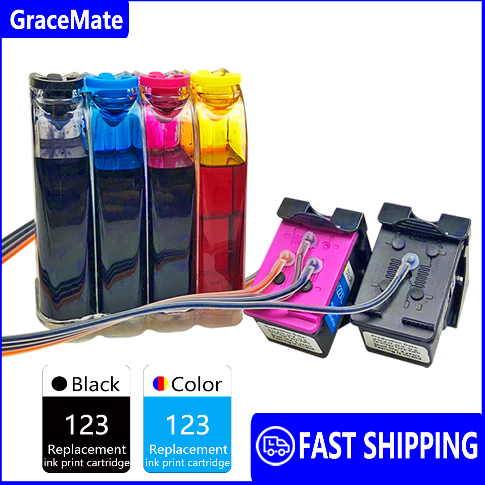 Continuous Ink Supply System Compatible for HP 123 Deskjet 1110 2130 2132 2133 2134 3630 3632 3637 3638 4513 4520 4521 Printers