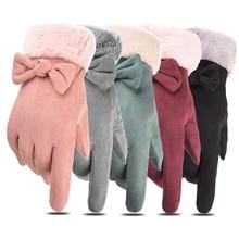 New Winter Female Bow Warm Cashmere Three Ribs Cute Bear Mit