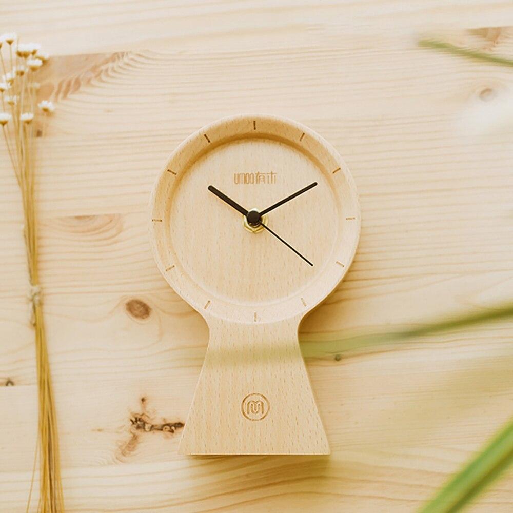 Réveil fait main bois matériau écologique horloge ensoleillée silencieux Non coutil horloge en bois pour bureau maison chambre salon - 5