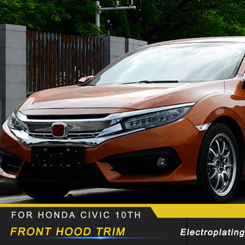 Auto Car-styling Front Hood Trim Grill Cover Sticker Exterior Accessories for Honda Civic 10th 2016-2018