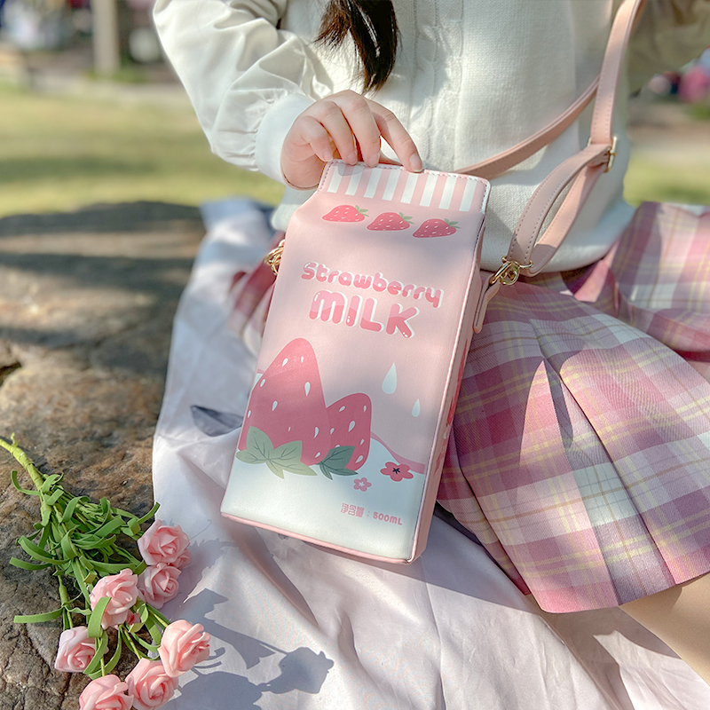 Harajuku Lovely Lolita Strawberry Milk Box Transparent 15/20/25cm Bjd Dolls Itgbag Shoulder Bags Portable Kawaii Messenger Bags