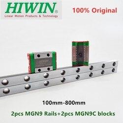 2 sztuk oryginalny prowadnica liniowa hiwin MGN9 200 250 300 330 350 400 450 500 550 600 mm + 2 sztuk MGN9C bloki 12MM MGNR9 rail CNC router w Łożyska od Sport i rozrywka na