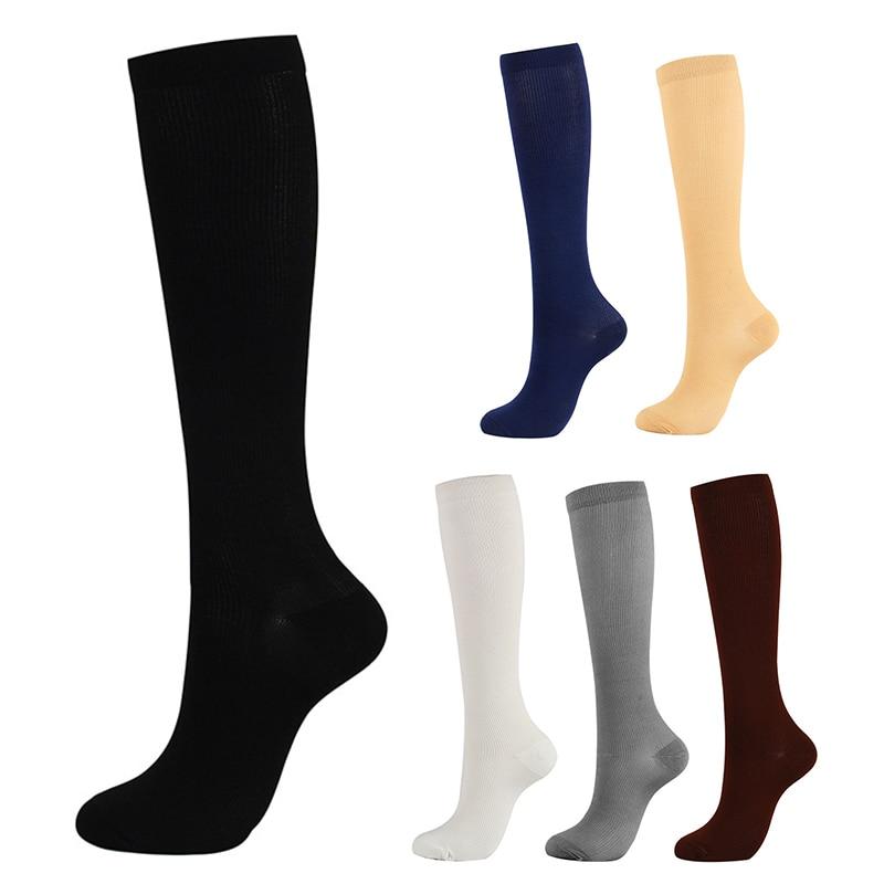 Однотонные Компрессионные носки, Длинные Компрессионные носки, уличные Спортивные Компрессионные носки для мужчин и женщин, спортивные но...