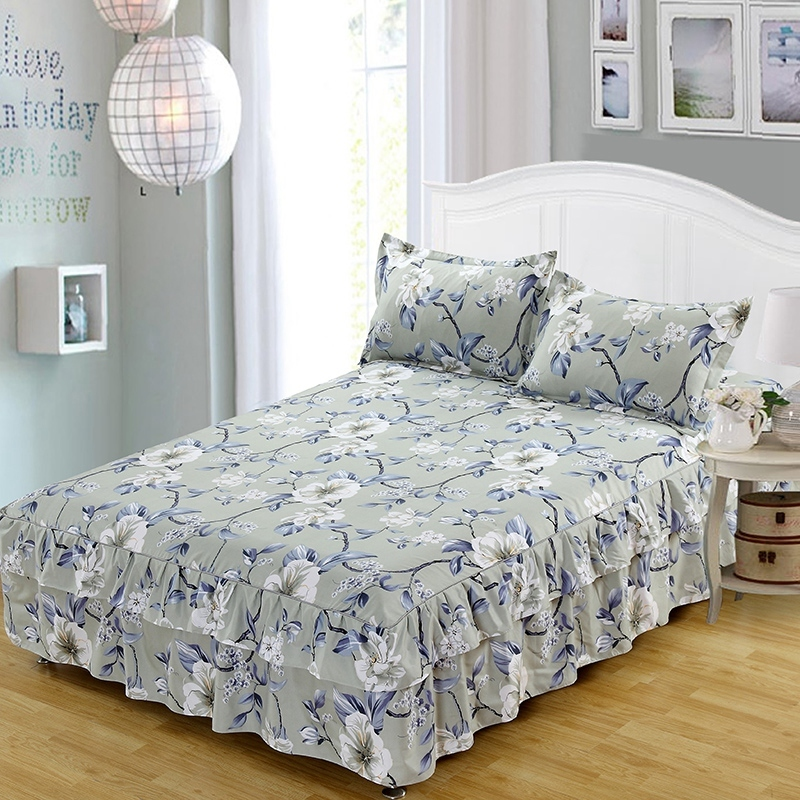 Flower Pattern Warm Ruffle Bed Skirt Thicken Elastic Non-Slip Bedspreads Sheet Soft Mattress Cover No Free Pillowcase