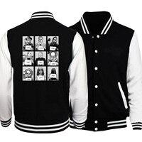 Men fashion horror movie print baseball uniform 2019 autumn winter black stand collar fleece sweatshirt new style hip hop jacket