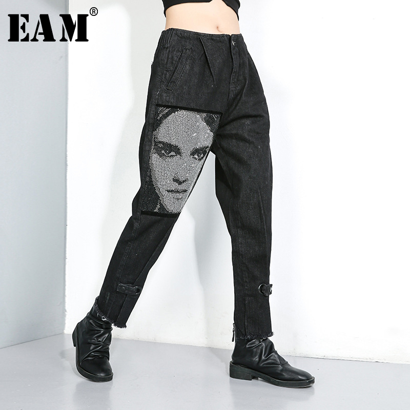 [EAM] Black Leisure Pattern Printed Long Jeans New High Waist Loose Women Trousers Fashion Tide Spring Autumn 2019 1D649
