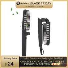 Hairdiva dupla iônica escova de cabelo alisador cerâmica elétrica alisamento escova rápido aquecer o cabelo e barbas 2 em 1