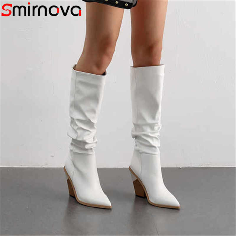 Smirnova 2020 nouveau plissé mince genou bottes hautes bout pointu bottes d'hiver de haute qualité en cuir pu automne hiver bottes chaussures femmes