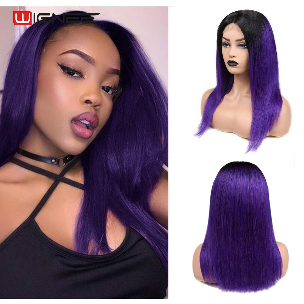 Wignee 4*4 Lace Closure Straight Hair Purple Human Wigs For Black Women Brazilian Hair Glueless Middle Part Swiss Lace Human Wig
