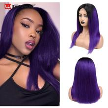 Wignee 4*4 Lace Closure Straight Hair Purple Human Wigs For Black Women Brazilia