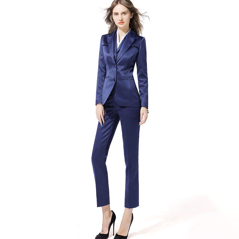 USPECIAL  European And American Professional Pants Suit Three-piece Vest Business Dress Navy Blue Suit Tooling Two-piece
